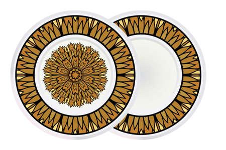 Set of two Decorative Round Color Ornament For Interior Design. Tribal Ethnic Ornament With Mandala. Home Décor. Vector Illustration. Vektoros illusztráció