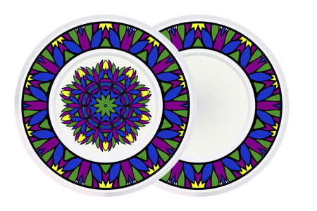 Set of two Simple Round Floral Mandala, Ethno Motive. Bright Ornament Consists Of Simple Shapes. Vector Illustration.. For Home Decor, Coloring Book, Greeting Card, Invitation, Tattoo