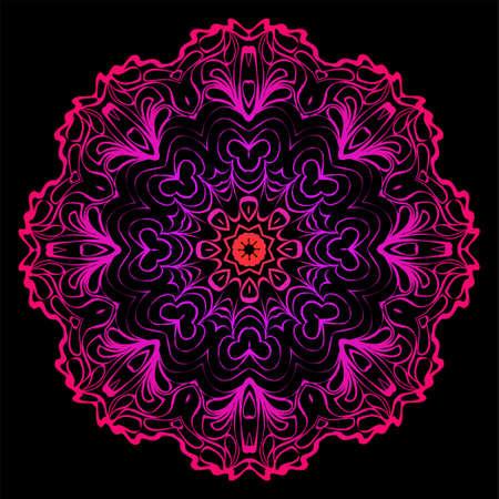 Decorative Mandala. Vector Illustration. Isolated. Tribal Ethnic Ornament With Mandala. Anti-Stress Therapy Pattern. Indian, Moroccan, Mystic, Ottoman Motifs. Black, purple color.