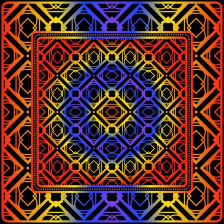 Design For Square Fashion Print. For Pocket, Shawl, Textile, Bandanna. Geometric Pattern. Vector Illustration  イラスト・ベクター素材