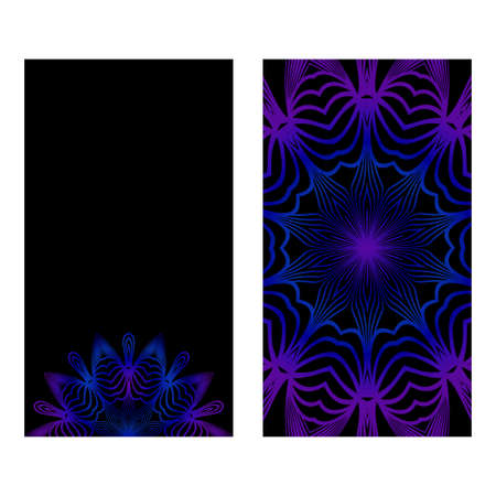 Design Vintage Cards With Floral Mandala Pattern And Ornaments. Vector Template. Islam, Arabic, Indian, Mexican Ottoman Motifs. Hand Drawn Background. Black blue purple color.