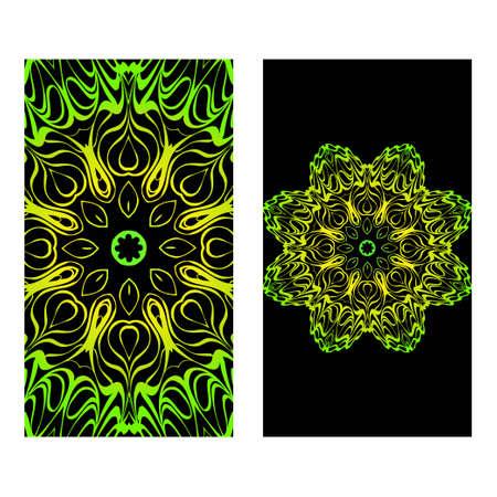 The Front And Rear Side. Mandala Design Elements. Wedding Invitation, Thank You Card, Save Card, Baby Shower. Vector Illustration. Black green color. Illustration