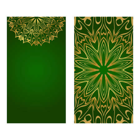 The Front And Rear Side. Mandala Design Elements. Wedding Invitation, Thank You Card, Save Card, Baby Shower. Vector Illustration. Green gold color. Vectores