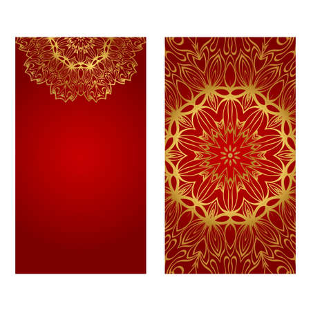 Ethnic Mandala Ornament. Templates With Mandalas. Vector Illustration For Congratulation Or Invitation. The Front And Rear Side. Luxury red, gold color.
