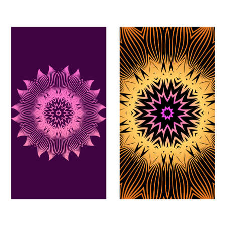 Flyers, Banner Template With Mandala Ornament. Vector Design. Ottoman, Arabic, Oriental, Turkish, Indian,Motif. Purple bronze color. Foto de archivo - 119156212