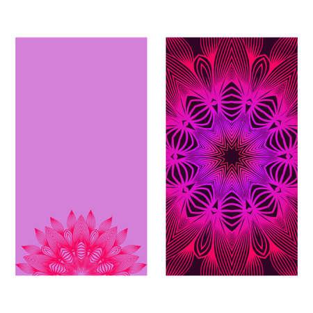 Floral Mandala Pattern. Vector Flyer Oriental Design. Flyer. Purple color. Vectores