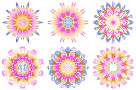 Set of Design With Floral Mandala Ornament. Vector Illustration. For Coloring Book, Greeting Card, Invitation, Tattoo. Anti-Stress Therapy Pattern. Rainbow color.