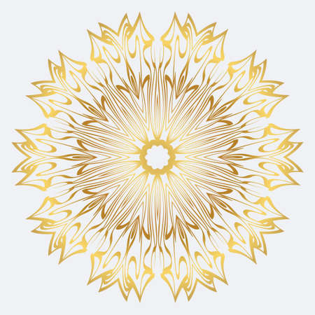 Modern Decorative Floral Mandala. Decorative Cicle Ornament. Floral Design. Vector Illustration. Can Be Used For Textile, Greeting Card, Coloring Book, Phone Case Print. Gold color. Vector Illustratie