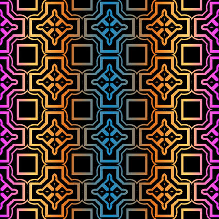 Geometric Pattern. Seamless Ornament. Vector Illustration. Rainbow black Color. For Design, Invitation Wedding, Valentine's, Background, Wallpaper.