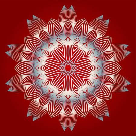 Modern Decorative Floral Color Mandala. Modern Decorative Floral Color Mandala. Vector Illustration. Red white grey colour Ilustração
