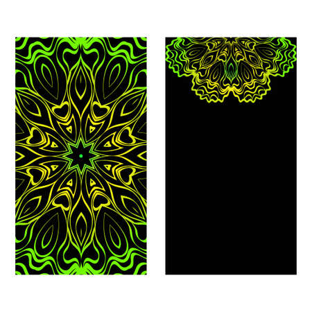The Front And Rear Side. Mandala Design Elements. Wedding Invitation, Thank You Card, Save Card, Baby Shower. Vector Illustration. Black green color. 矢量图像