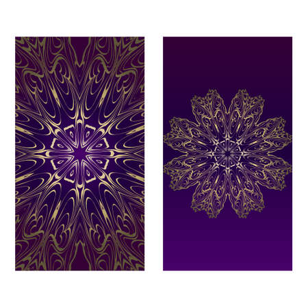 Vintage Cards With Floral Mandala Pattern. Vector Template. The Front And Rear Side. Luxury template. Purple gold color.