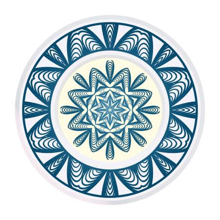Fashion Print With Mandala Floral Ornament. Vector Illustration. Art Traditional, Islam, Arabic, Indian, Magazine, Elements With Mandala. Ilustração