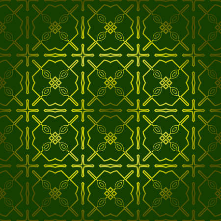 Vector Seamless Pattern With Abstract Geometric Style. Repeating Sample Figure And Line. For Fashion Interiors Design, Wallpaper, Textile Industry. Green olive color.