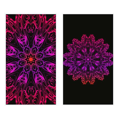 Vintage Invitation Or Wedding Card. Vector Illustatration. The Front And Rear Side. Black purple color. Foto de archivo - 119534352
