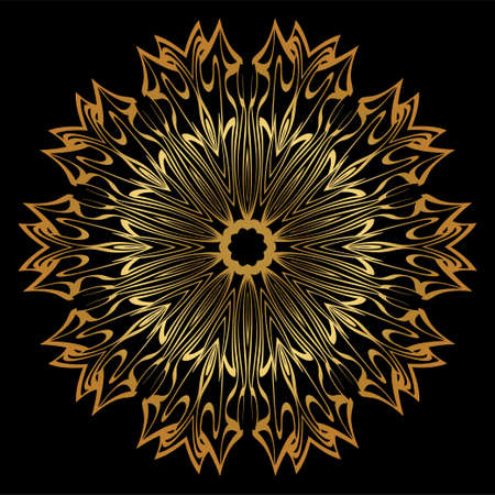 Sacred Oriental Mandala. Floral Ornament. Vector Illustration. Can Be Used For Greeting Card, Coloring Book, Phone Case Print. Luxury gold, black color. Illustration