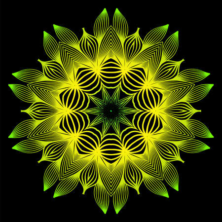 Sacred Oriental Mandala. Color Floral Ornament. Abstract Shapes In Asian Style. Vector Illustration. Black green yellow color.