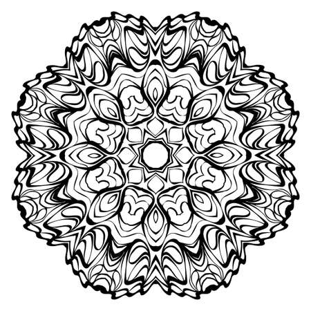 Mandala. Abstract Round Vector Illustration. Anti-Stress Therapy Pattern. Black, white.