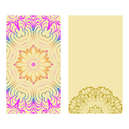 Ethnic Mandala Ornament. Templates With Mandalas. Vector Illustration For Congratulation Or Invitation. The Front And Rear Side. Rainbow, yellow color. Illustration