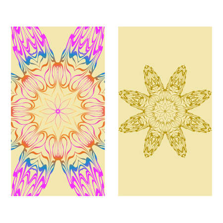 Vintage Cards With Floral Mandala Pattern. Vector Template. The Front And Rear Side. rainbow color.