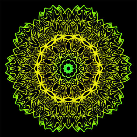 Design With Floral Mandala Ornament. Vector Illustration. For Coloring Book, Greeting Card, Invitation, Tattoo. Anti-Stress Therapy Pattern. Black, green color.