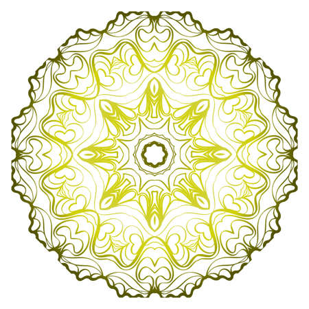 Relaxing Floral Mandala Ornament. Vector Illustration. Print For Modern Yoga Interiors Design, Wallpaper, Textile Industry. Green olive gradient color. Illustration