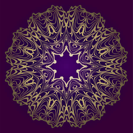Circle Floral Pattern. Hand Draw Mandala. Decorative Elements. Vector Illustration. Anti-Stress Therapy Pattern. Purple, gold color.