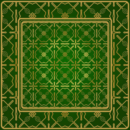 Design Of A Geometric Pattern. Vector. Repeating Sample Figure And Line. For Fashion Interiors Design, Wallpaper, Textile Industry. Green gold color.