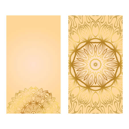 Cards Or Invitations Set With Mandala Ornament. Vector Illustration. For Wedding, Bridal, Valentine's Day, Greeting Card Invitation. Gold color. Vectores