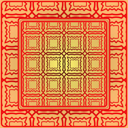 Decorative Geometric Ornament With Decorative Border. Repeating Sample Figure And Line. For Modern Interiors Design, Wallpaper, Textile Industry. Sunrise color.