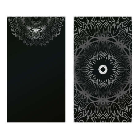Card Template With Floral Mandala Pattern. Business Card For Fitness Center, Sport Emblem, Meditation Class. Vector Illustration. Black silver color.