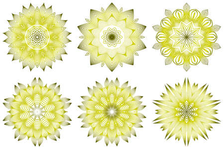 Set of Ornamental Round Lace. Sacred Oriental Mandala. Color Floral Ornament. Modern Decorative Vector Illustraation. Yellow olive color. Illustration