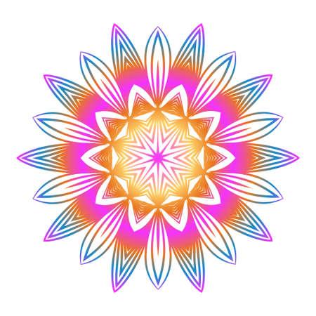 Floral Color Mandala. Arabic, Indian, Motifs. Vector Illustration. Rainbow color.