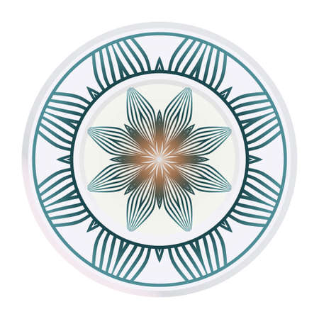 Decorative Round Ornament Mandala From Floral Elements. Vector Illustration. Oriental Pattern. Indian, Moroccan, Mystic, Ottoman Motifs. Anti-Stress Therapy Pattern.