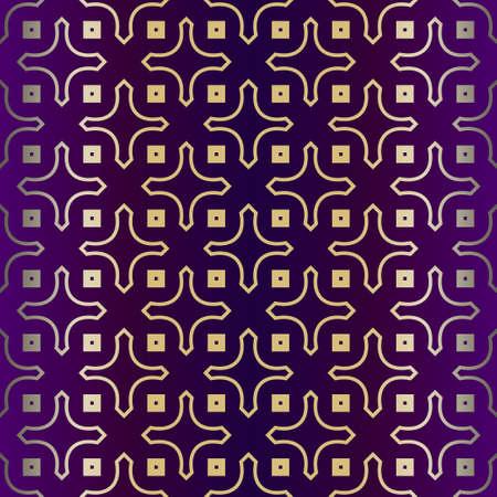 Geometric Modern Ornament. Seamless Vector Pattern. For Wallpaper, Invitation, Fashion Design. Purple gold color.