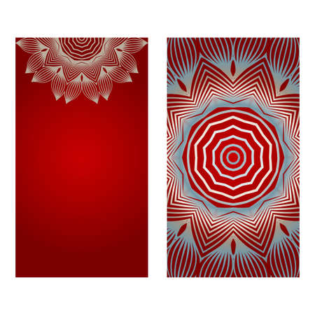 Cards Or Invitations Set With Mandala Ornament. Vector Illustration. For Wedding, Bridal, Valentine's Day, Greeting Card Invitation. Red silver color.