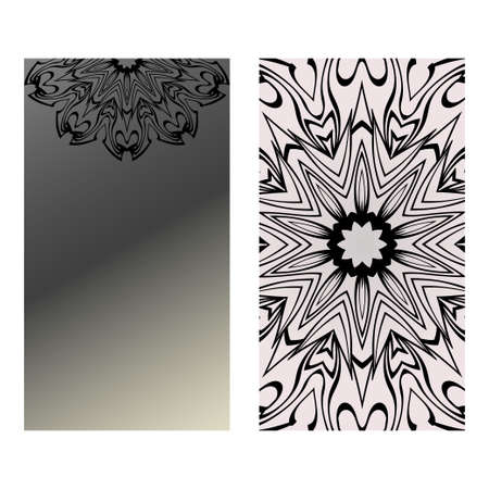 Yoga Card Template With Mandala Pattern. For Business Card, Fitness Center, Meditation Class. Vector Illustration. Black grey color.
