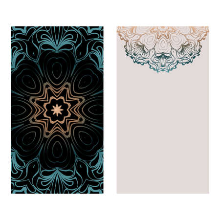 Relax Cards With Mandala Formed Flowers, Boho Style, Vector Illustration. For Wedding, Bridal, Valentines Day, Greeting Card Invitation. Fantasy color. Illustration