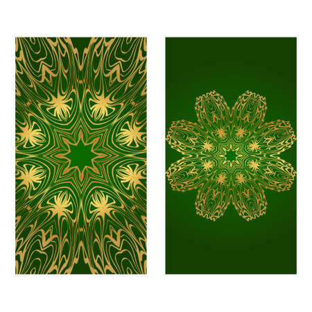 Colorful Ornamental Ethnic Flyer. Templates With Tribal Mandalas. Vector Illustration. For Congratulation Or Invitation, Sale Banner. Green gold color.