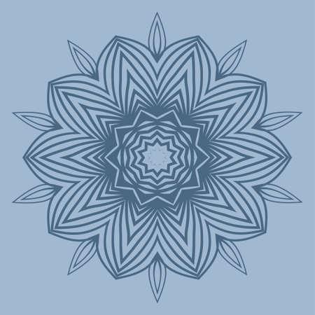Modern Decorative Floral Color Mandala. Super Vector Round Shapes. Vector Illustration. Dark blue color