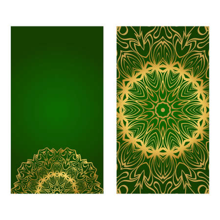 Invitation Or Card Template With Floral Mandala Pattern. Decorative Background For Wedding, Greeting Cards, Birthday Invitation. The Front And Rear Side. Green gold color.