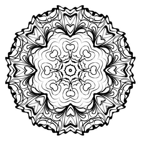 Mandala. Illustration vectorielle ronde abstraite. Modèle de thérapie anti-stress. Noir blanc. Vecteurs