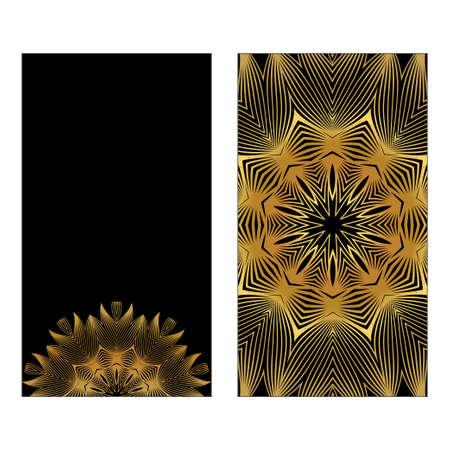 Flyer With Floral Mandala Ornaments. Vector Oriental Design. Islam, Arabic, Indian, Ottoman Motifs. Luxury black gold color.