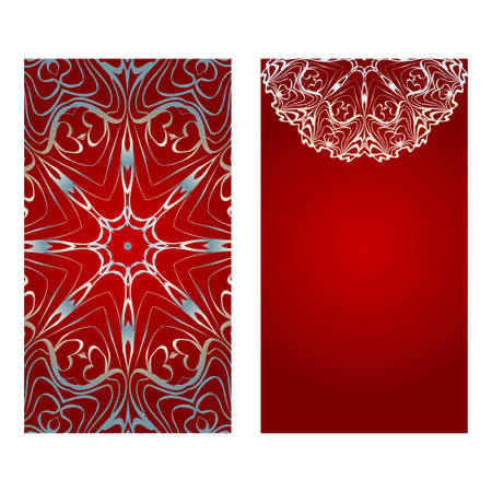 Banner floreali. Ornamento etnico di mandala. Illustrazione di vettore. Per biglietto di auguri, libro da colorare, stampa di invito. Colore rosso, argento. Vettoriali