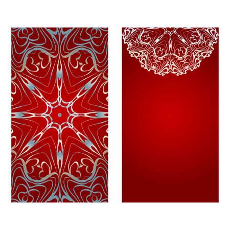 Blumenbanner. Ethnische Mandala-Verzierung. Vektor-Illustration. Für Grußkarte, Malbuch, Einladungsdruck. Rot, silberne Farbe. Vektorgrafik