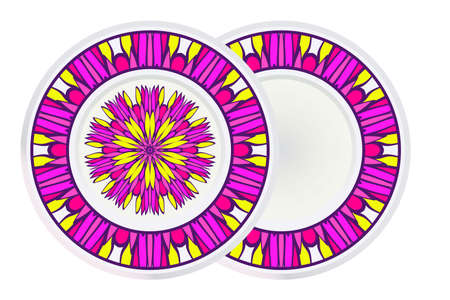 Set of Decorative Ornament With Mandala and round frame. Anti-Stress Therapy Pattern. Vector Illustration.