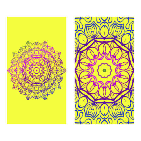 Floral Banners. Ethnic Mandala Ornament. Vector Illustration. For Greeting Card, Coloring Book, Invitation Print. Purple gradient color on yellow background.