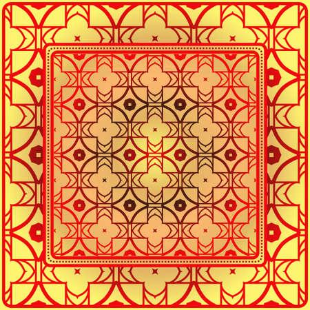 Geometric Ornament With Frame, Border. Art-Deco Background. Bandanna, Shawl, Scarf, Tablecloth Design.  イラスト・ベクター素材