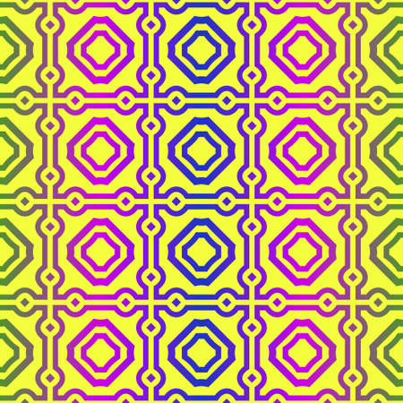 Unique, Abstract Geometric Pattern. Seamless Vector Illustration. For Fantastic Design, Wallpaper, Background, Fantastic Print. Yellow purple color.  イラスト・ベクター素材