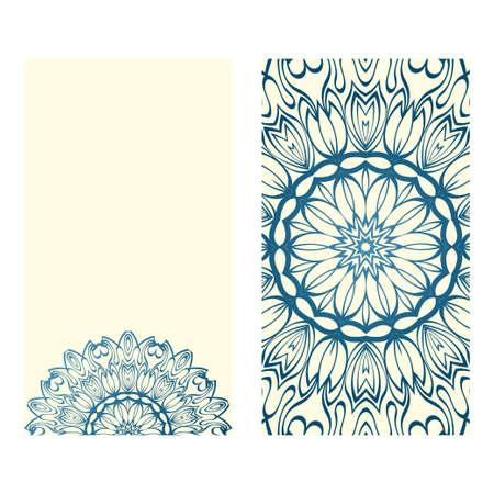 The Front And Rear Side. Mandala Design Elements. Wedding Invitation, Thank You Card, Save Card, Baby Shower. Vector Illustration. Blue milk color. Illustration